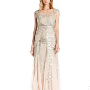 Adrianna Papell $340 2 Petite Cap Beaded Gown